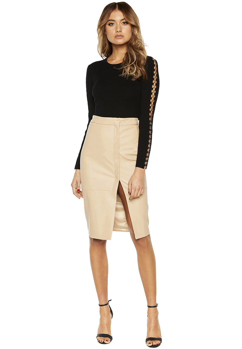 DEE WRAP MIDI SKIRT in colour RUGBY TAN