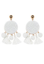 POM POM DISC EARRING in colour WHITE ALYSSUM