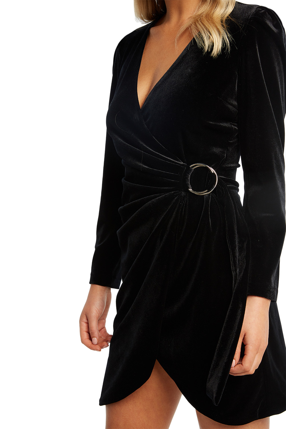 VELVET WRAP DRESS in colour CAVIAR