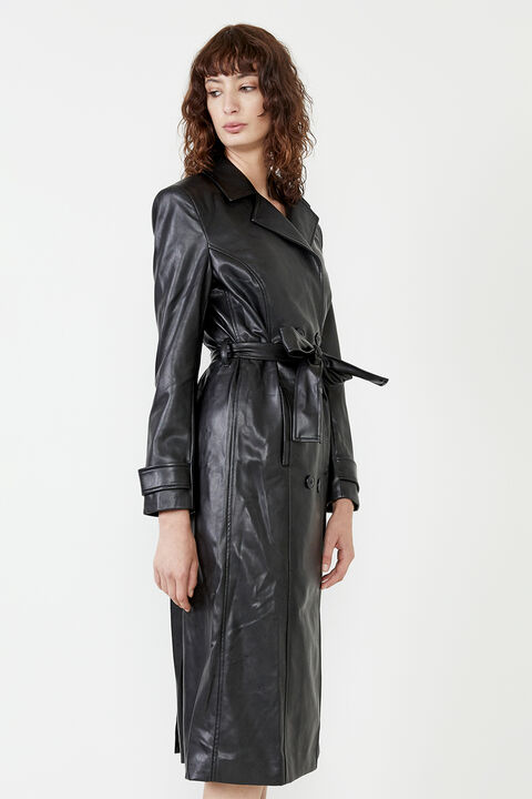 VEGAN LEATHER TRENCH COAT in colour CAVIAR