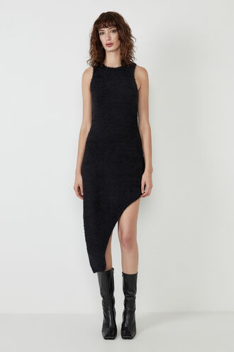 THE FLUFFY KNIT DRESS in colour CAVIAR
