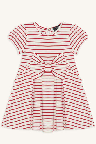 STRIPE PONTI DRESS in colour CRANBERRY