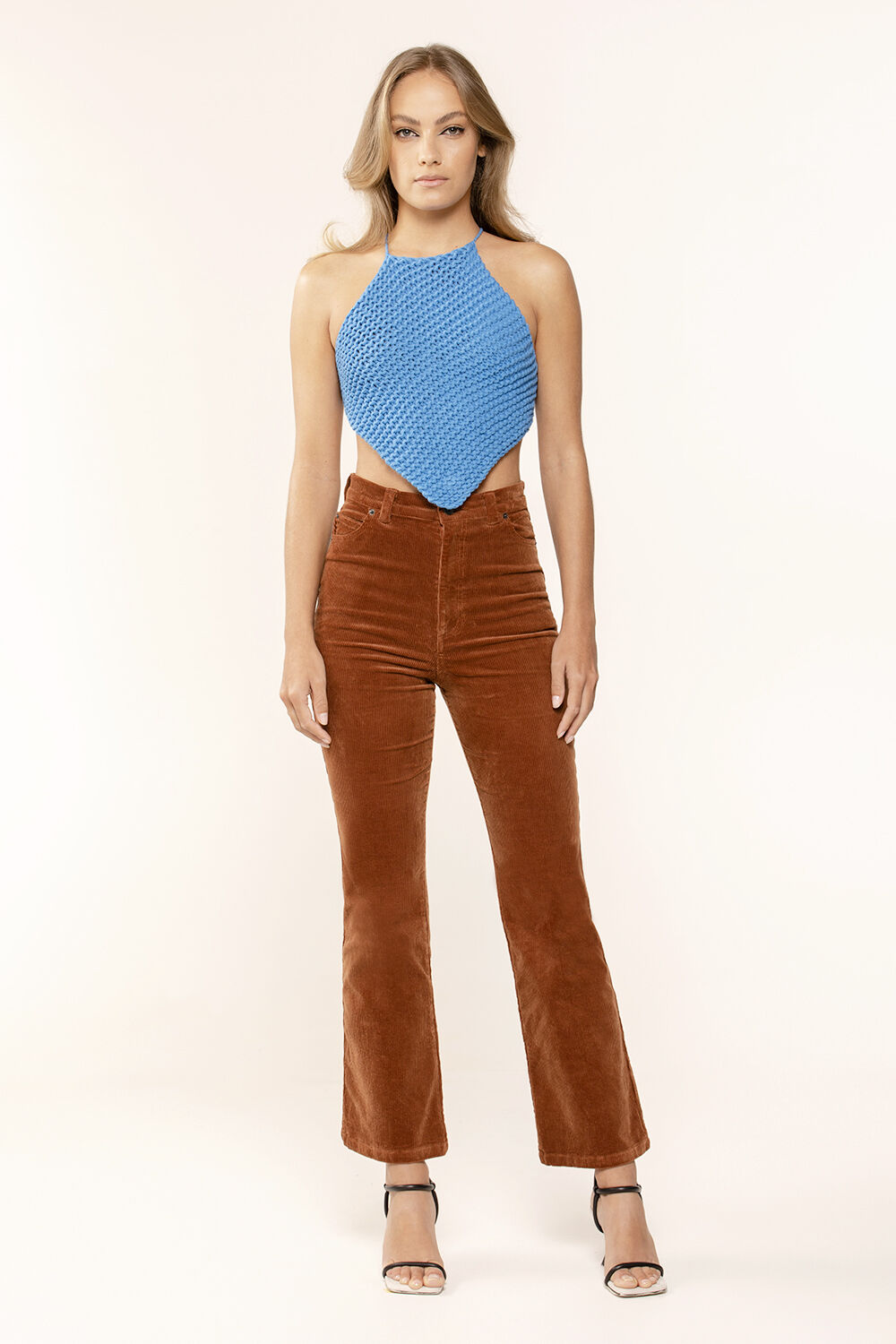 BOOTY CORD HIGH WAIST PANT in colour ROOT BEER