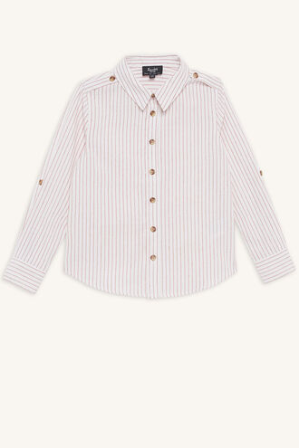 LINEN STRIPE SHIRT in colour TANGO RED