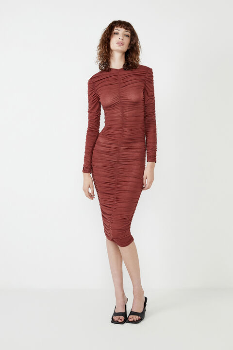 RUCHED JERSEY DRESS in colour WINETASTING