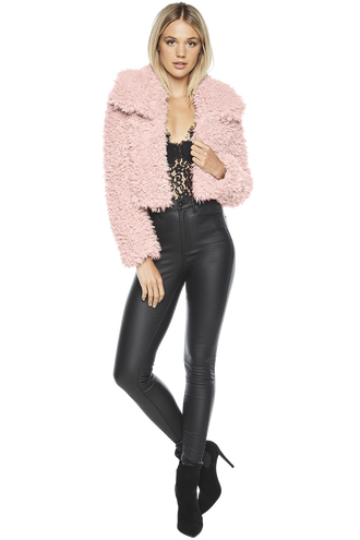 FAUX FUR JACKET in colour PALE MAUVE