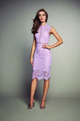 LACE PANEL DRESS in colour FAIR ORCHID