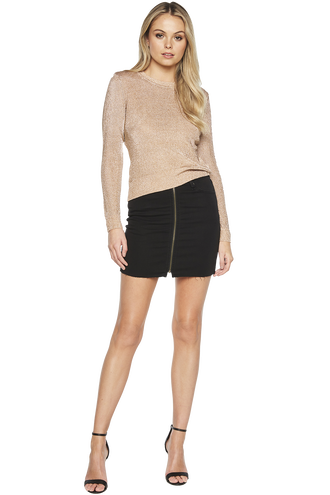 METALLIC LONG SLEEVE KNIT in colour CARAMEL