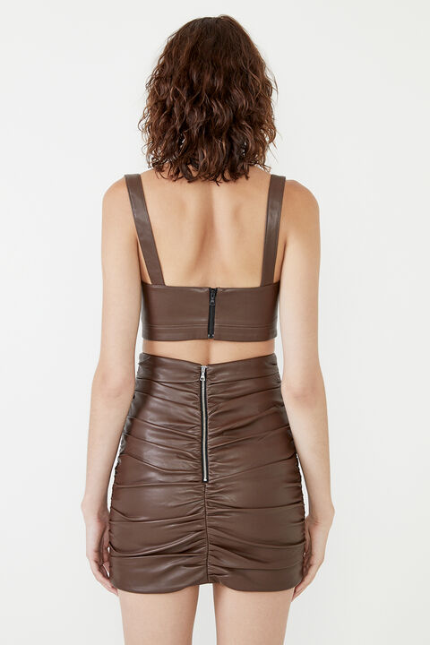ANYA VEGAN LEATHER BRALETTE  in colour CHOCOLATE BROWN