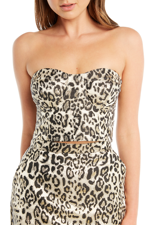 METALLIC LEOPARD TOP in colour WHISPER WHITE