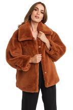 PIA FAUX FUR BOMBER in colour COPPER BROWN