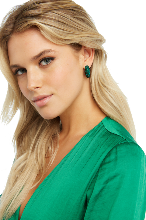 CRYSTAL HIGH HOOP EARRINGS in colour GREEN ASH