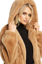 BELLA ZIP FAUX FUR JACKET in colour ALMOND