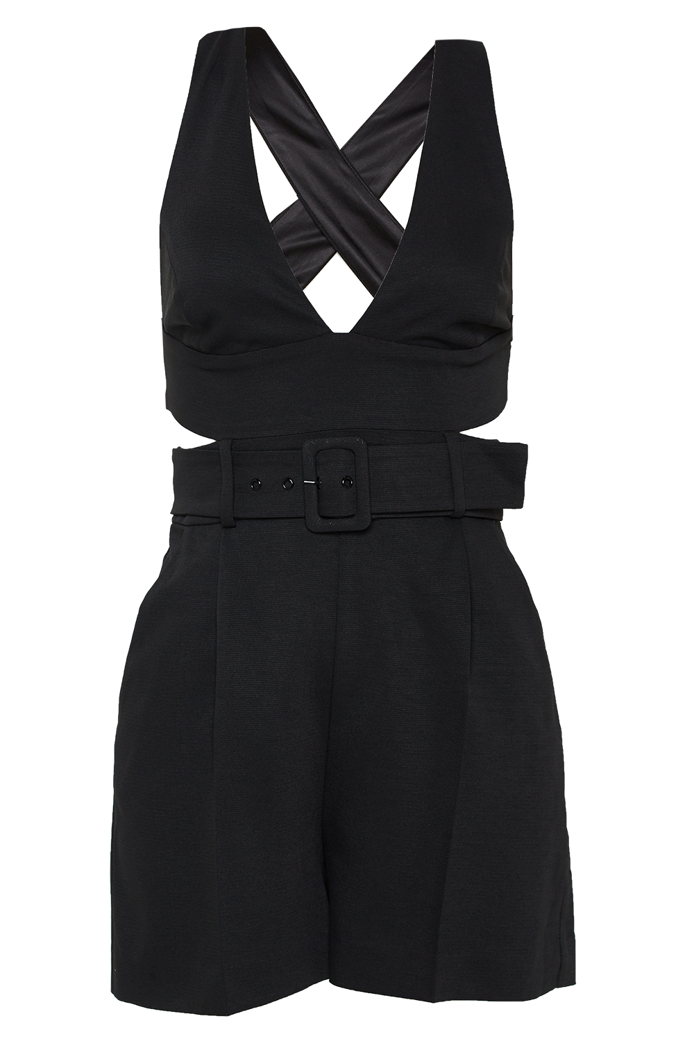 THERESE BELT PLAYSUIT in colour CAVIAR
