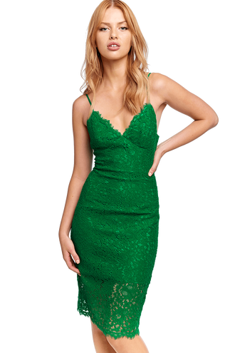 SIENNA LACE DRESS in colour CLASSIC GREEN