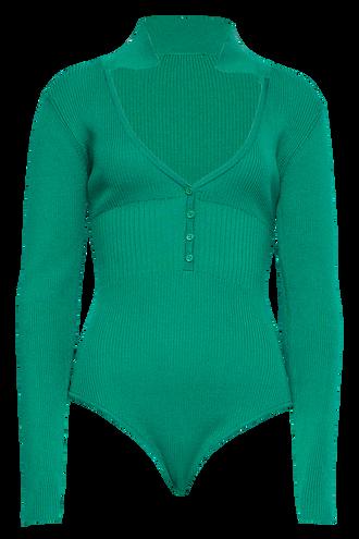COLLAR BODYSUIT in colour PEPPER GREEN