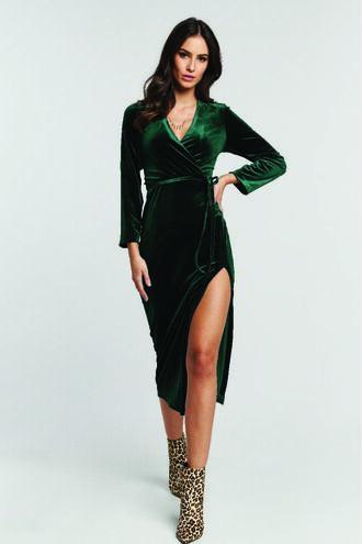 MORGAN VELVET DRESS in colour GREEN GABLES