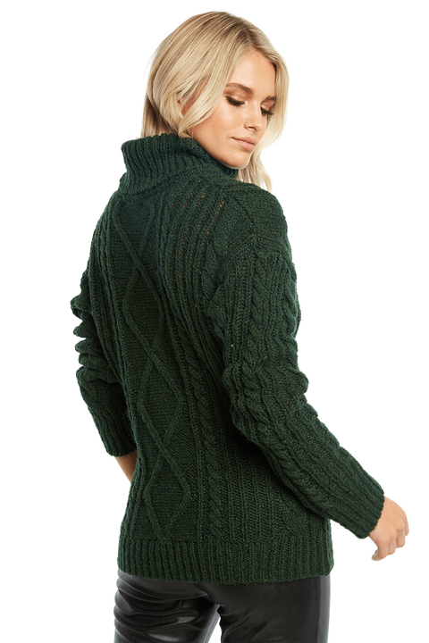 ROLL NECK CABLE KNIT in colour DARK GREEN