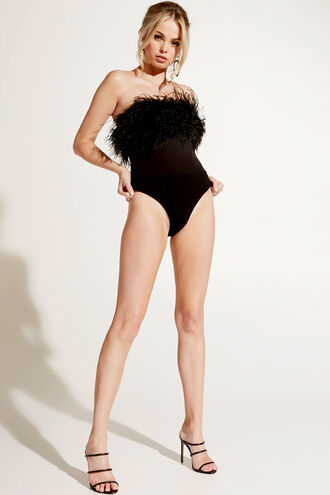 FEATHER BODYSUIT in colour CAVIAR
