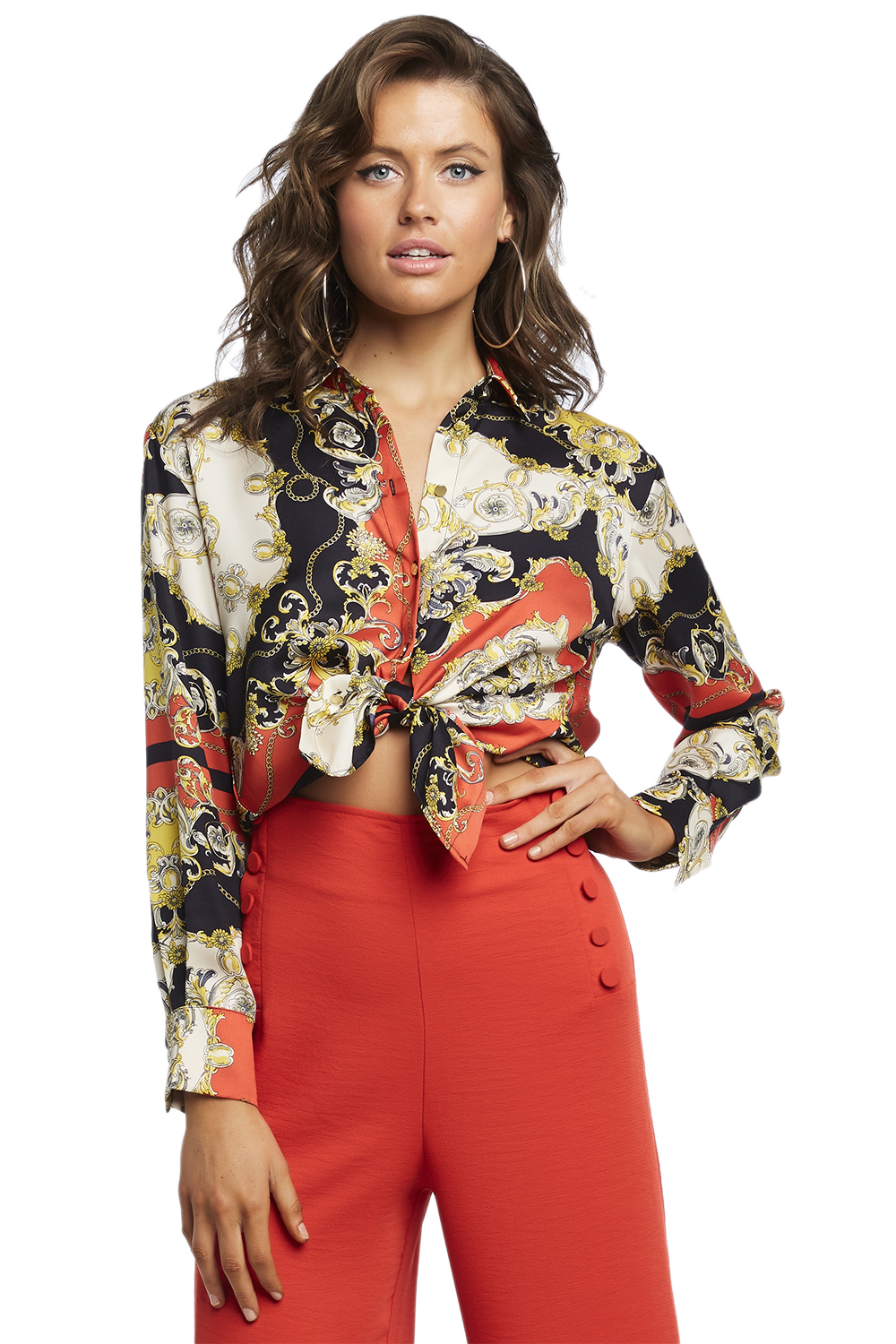 SCARF PRINT SHIRT in colour CAVIAR
