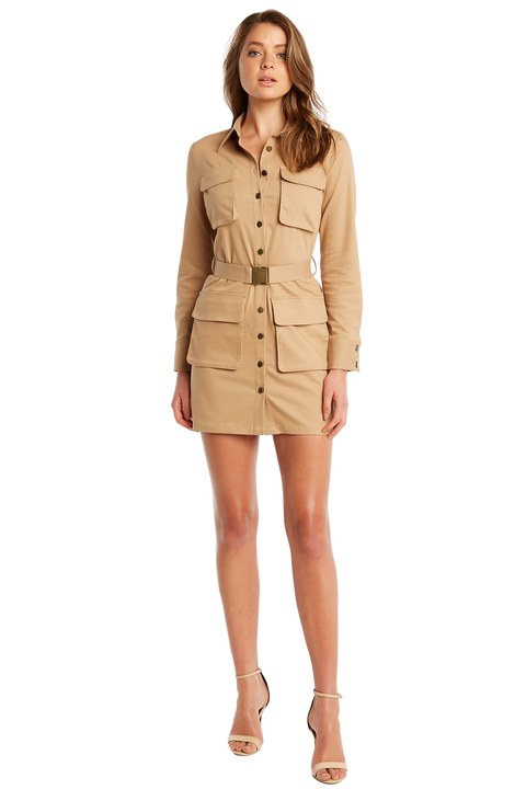 BELTED CARGO DRESS in colour TAN
