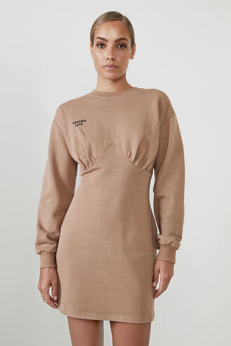 THE ORGANIC SWEATER DRESS in colour TAN