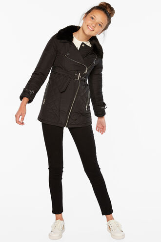 AIME QUILTED COAT in colour JET BLACK