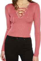 KYM CROP LACEUP KNIT in colour RAPTURE ROSE