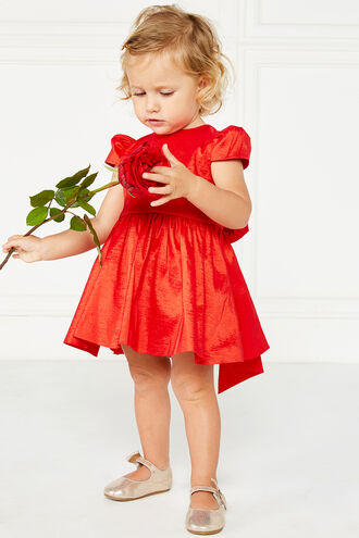 VALETTA BOW DRESS in colour HIGH RISK RED