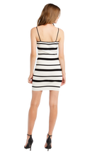 MINI STRIPE KNIT DRESS in colour CAVIAR