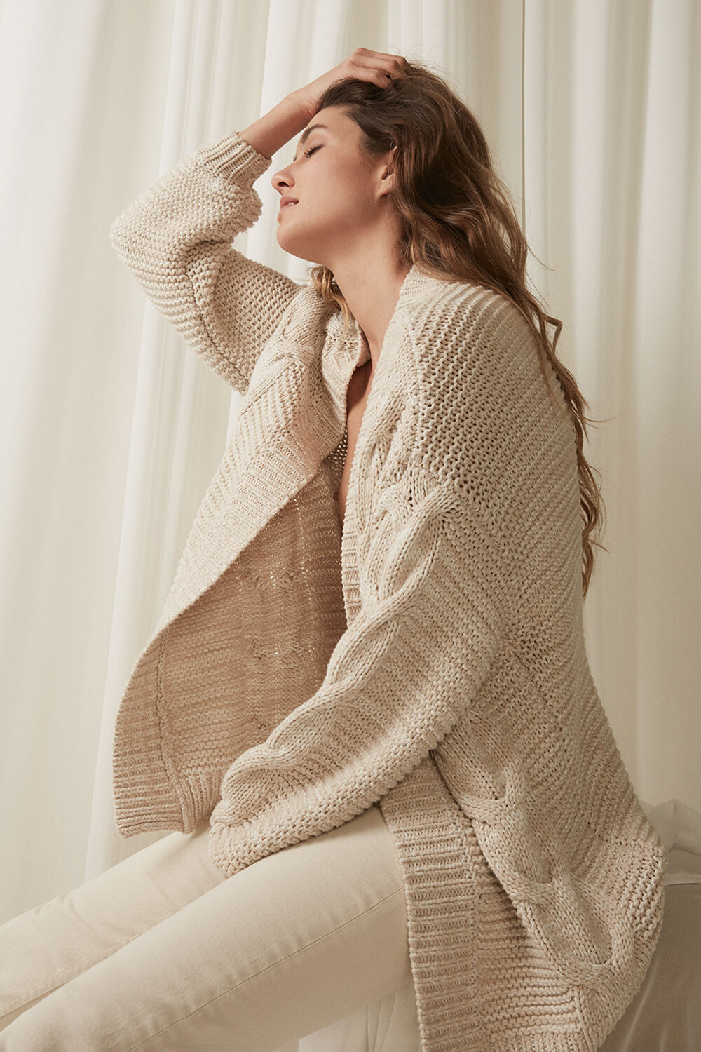 CHUNKY CARDI in colour BLEACHED SAND
