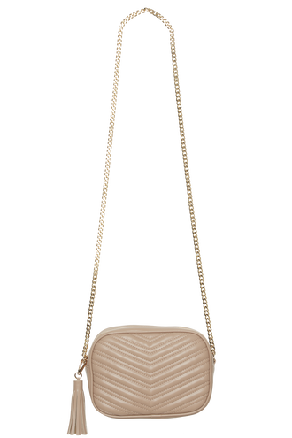 QUILTED HIP BAG in colour BEIGE
