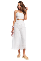 BODHI BRODERIE CROP TOP in colour SNOW WHITE
