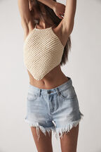 KNITTED HALTER TOP  in colour CLOUD DANCER