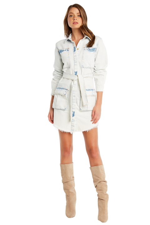 BLEACH DENIM SHIRT DRESS in colour PLEIN AIR