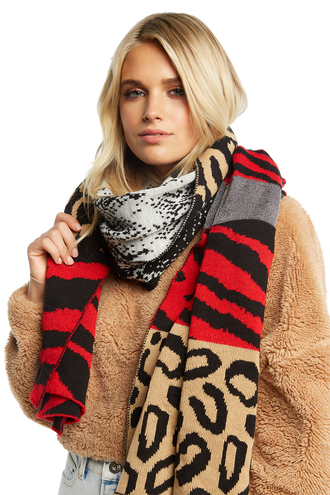 ANIMAL BLANKET SCARF in colour ANTELOPE