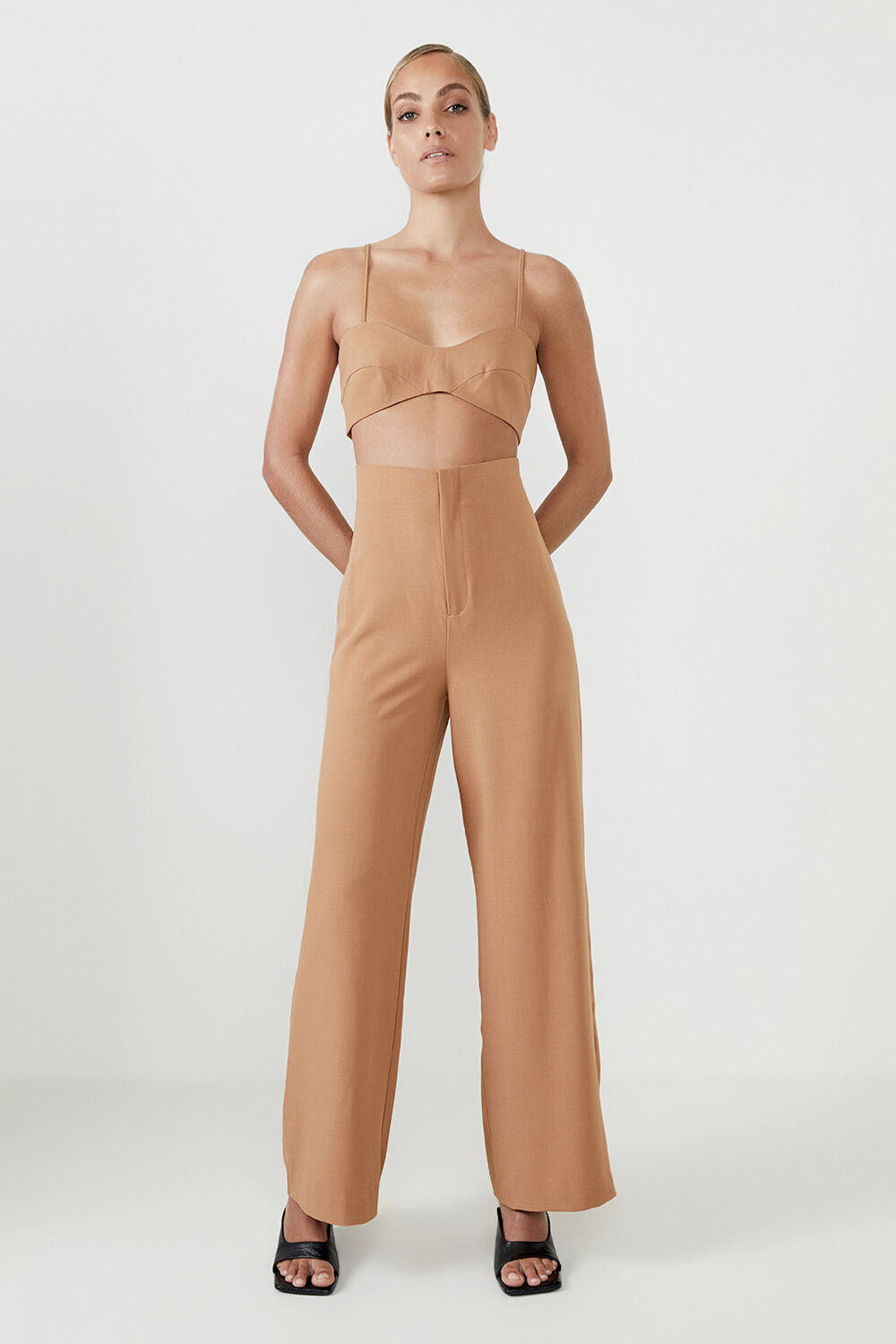 ANNA HIGH WAIST PANT  in colour COPPER BROWN