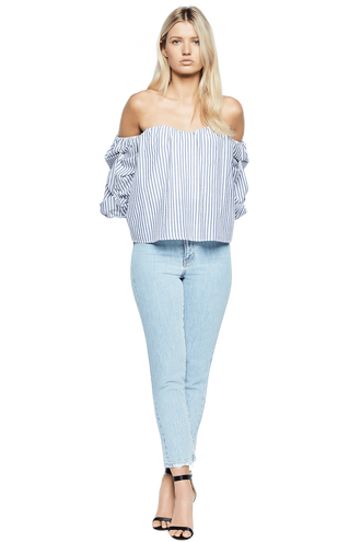 TIE SLEEVE BUSTIER in colour CASHMERE BLUE