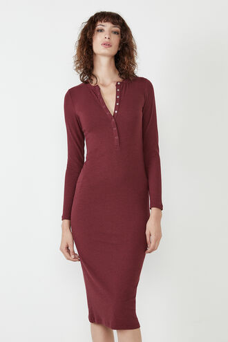 MERISSA RIB MIDI DRESS in colour BURGUNDY