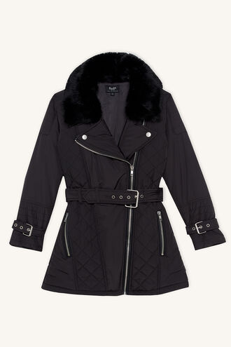 AIMEE QUILTED COAT in colour JET BLACK
