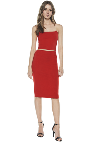 CARA MIDI TUBE SKIRT in colour HIGH RISK RED