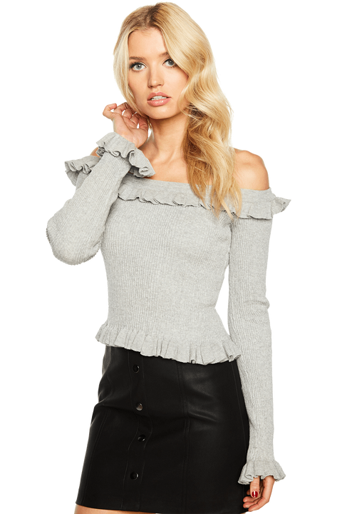 KIM OFF SHOULDER KNIT TOP in colour PALOMA