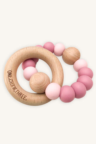 SINGLE RATTLE SILICONE & BEECHWOOD TEETHER in colour PINK CARNATION
