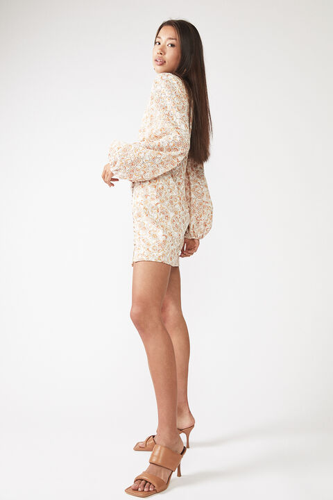 PRINTED PAISLEY EMBROIDERED DRESS in colour AMBER BROWN