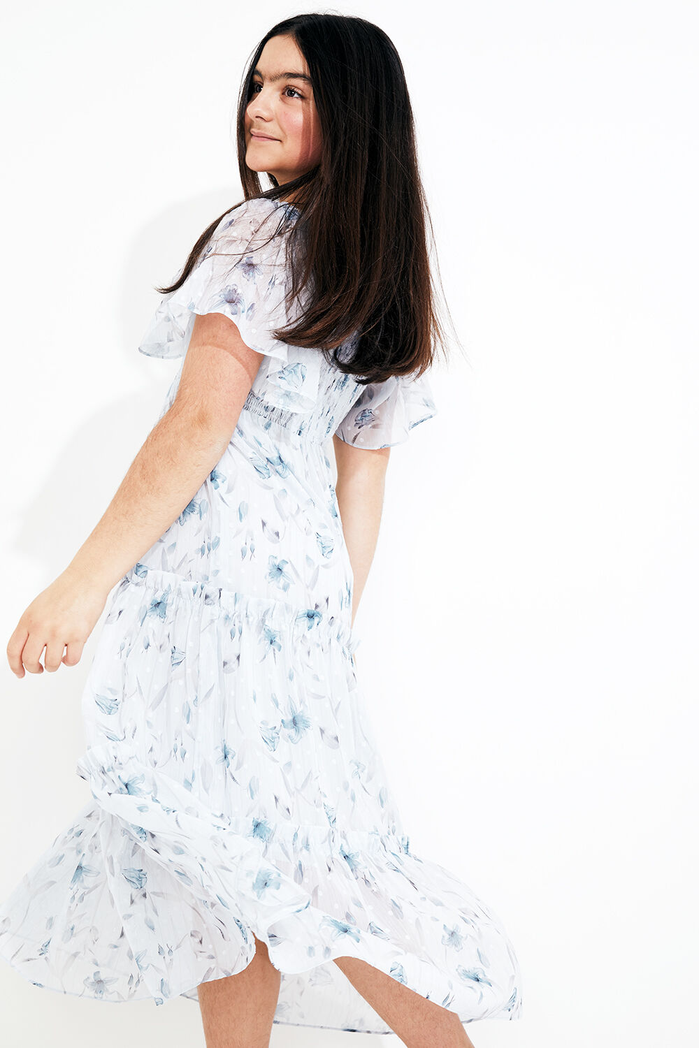 TWEEN GIRL MIA TIERED MIDI DRESS in colour BIT OF BLUE