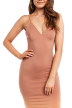 ELLIS BRALETTE DRESS in colour COPPER BROWN