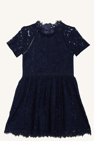 LACE PANEL DRESS in colour BLACK IRIS