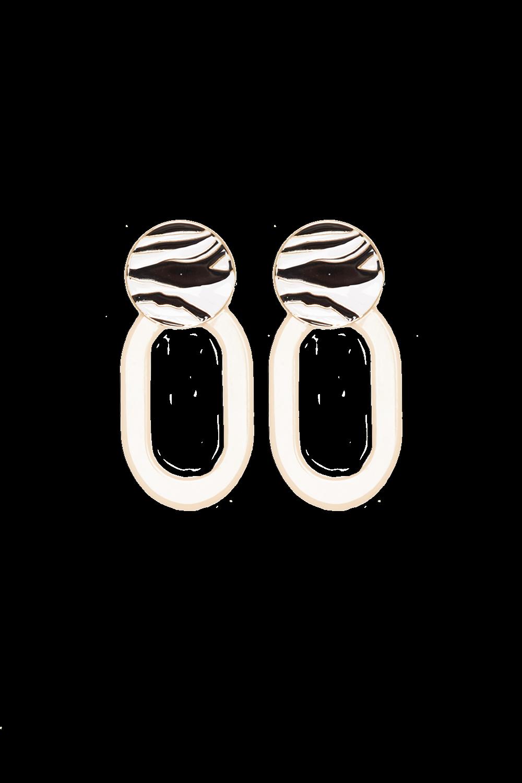 ZEBRA RESIN HOOP EARRINGS in colour METEORITE