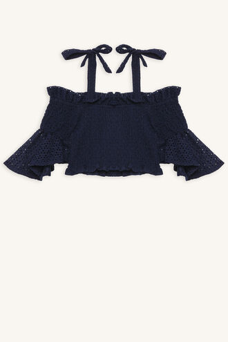 LINA SHIRRED TOP in colour MARITIME BLUE