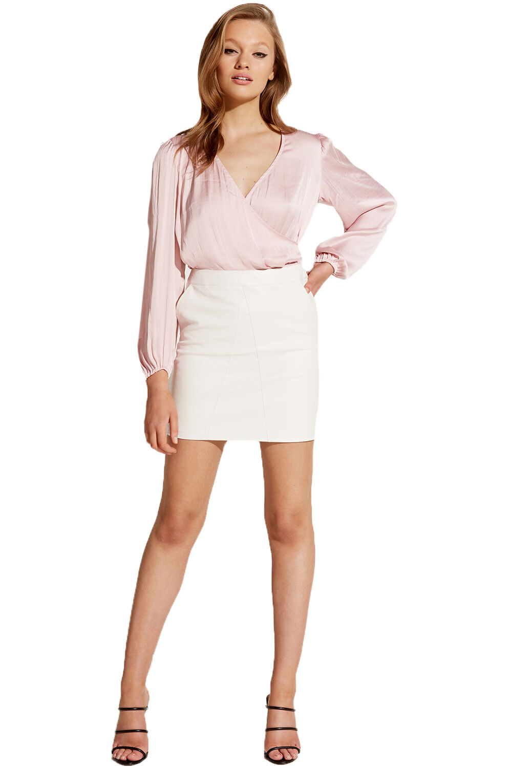 HALEY WRAP TOP in colour PALE DOGWOOD